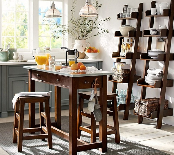 Wooden ladder shelves in the modern kitchen Equipped with Wooden Tale design with Two Stools Made from Wood